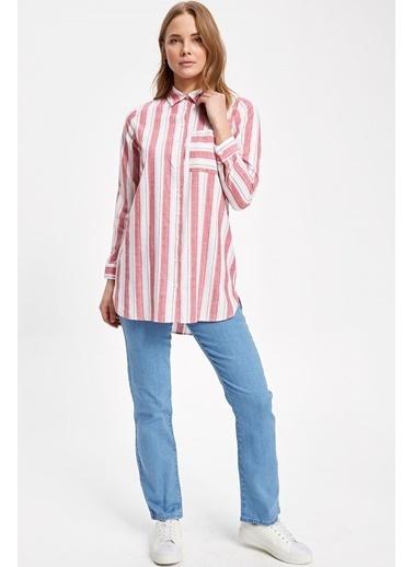 DeFacto Dikey Çizgili Tek Cepli Uzun Kollu Gömlek Tunik Kırmızı